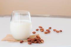 在一块玻璃的杏仁牛奶与在大理石桌上的杏仁种子 免版税库存照片