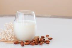 在一块玻璃的杏仁牛奶与在大理石桌上的杏仁种子 库存图片