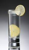 在一块玻璃的柠檬水与与切片的玻璃柠檬 库存照片