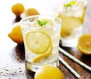 在一块玻璃的柠檬水用薄菏装饰 免版税库存图片
