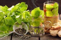 在一块玻璃的热的绿茶在木背景 图库摄影