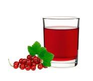 在一块玻璃的红浆果饮料用莓果无核小葡萄干 库存照片