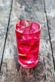 在一块玻璃的红色汁液与冰 免版税图库摄影