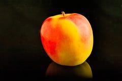 在一块黑玻璃的美好的黄色红色苹果谎言 免版税图库摄影