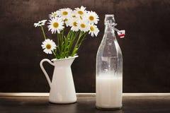 在一块玻璃的自创椰奶在春白菊旁边 库存照片