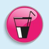 在一块玻璃的饮料与秸杆 适应图标 以颜色的形式有条件传染媒介图象 向量例证