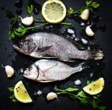 在一块黑石头的鲜鱼Orata与菜 图库摄影