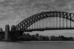 在一多云天期间,悉尼桥梁  免版税库存图片