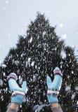 在一多雪的天举的胳膊 库存图片