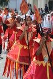 在一套服装的孩子在Notting Hill狂欢节 库存图片
