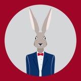 在一套蓝色衣服的兔子 图库摄影