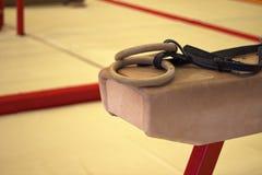 在一家体操俱乐部的体操设备 免版税库存照片