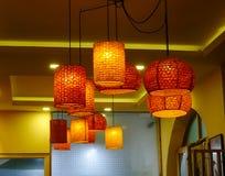 在一家餐馆的灯笼在加德满都,尼泊尔 图库摄影