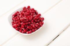 在一小杯的水多的结冰的莓果 免版税库存照片