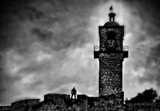 在一座古老城堡的神奇幻象 免版税图库摄影
