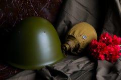 在一座大理石纪念碑水的一个军用容器一个绿色瓶子斗篷和一顶安全帽有红色康乃馨的作为记忆 库存图片