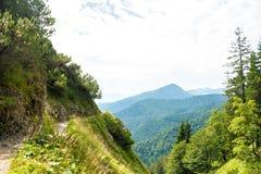 在一座小Herzogstand山道路、树和附近的山的美丽的景色在Walchensee湖,巴伐利亚,德国附近 库存照片