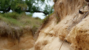 在一座山的沙子在海滩旁边 免版税图库摄影