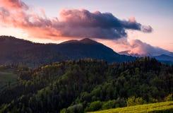 在一座树木丛生的山的峰顶的桃红色云彩 库存照片
