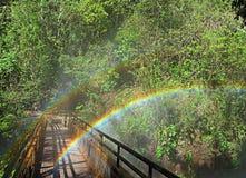 在一座桥梁的两条彩虹在瀑布附近叫Salto奇哥,  免版税库存图片