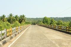 在一座桥梁的路在热带 图库摄影