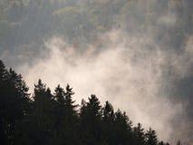 在一座美丽的山的秋天日出在反向内 小山小条大雾峰顶  免版税库存照片