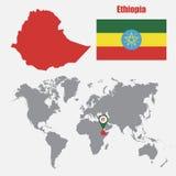 在一张世界地图的埃塞俄比亚地图与旗子和地图尖 也corel凹道例证向量 向量例证