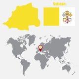 在一张世界地图的梵蒂冈地图与旗子和地图尖 也corel凹道例证向量 向量例证