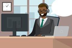 在一张书桌后的非裔美国人的女性在现代办公室 库存例证