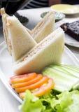 在一张土气桌上的三明治在明亮的光 库存照片