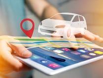 在一张地图的汽车与别针持有人- GPS和地方化概念 免版税库存照片