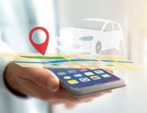 在一张地图的汽车与别针持有人- GPS和地方化概念 库存图片