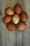 在一张木桌上的七个被绘的复活节彩蛋 免版税图库摄影