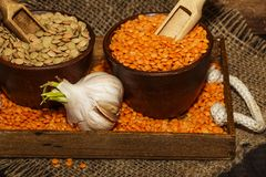 在一张木桌上的扁豆种子与麻袋布 扁豆的红色和绿色膳食补充剂种子  legum的有用的扁豆 库存照片
