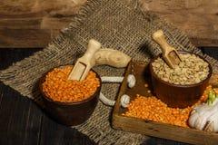 在一张木桌上的扁豆种子与麻袋布 扁豆的红色和绿色膳食补充剂种子  legum的有用的扁豆 免版税库存照片