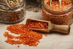 在一张木桌上的扁豆种子与麻袋布 扁豆的红色和绿色膳食补充剂种子  legum的有用的扁豆 免版税库存图片