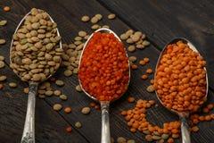 在一张木桌上的扁豆种子在生来有福 扁豆红色和绿色食物添加剂种子  豆类fa的有用的扁豆 免版税库存图片