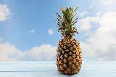 在一张木桌上的有机菠萝果子反对蓝天机智 图库摄影