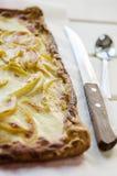 在一张木桌上的热的新鲜的片状苹果饼 库存照片