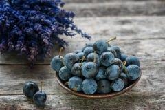 在一张木桌上的秋天收获蓝色黑刺李莓果与淡紫色花束在背景中 复制空间 土气样式 免版税库存照片