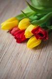 在一张木桌上的红色和黄色郁金香 免版税库存图片