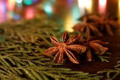 在一张木桌上的茴香与五颜六色的后照光 r 库存图片