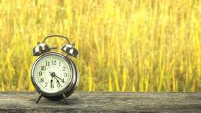 在一张木桌上的金黄时钟 免版税库存图片
