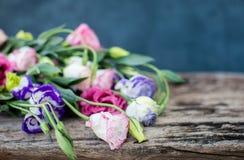 在一张木桌上的Lisianthus花束 库存照片
