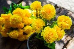 在一张木桌安置的罐的纸菊花morifolium拉马特甘在背景 库存照片