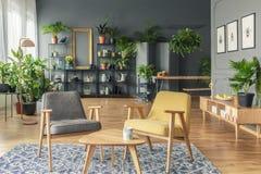 在一张桌旁边的两把椅子在一个被仿造的地毯在植物的屋子里  免版税库存照片