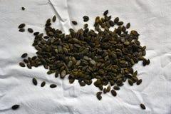 在一张白色桌布的被剥皮的南瓜籽 免版税库存图片