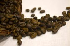 在一张白色桌布驱散的咖啡豆,被翻转的篮子 免版税库存图片