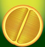 在一张纵切面的新鲜的桔子关于绿色背景 免版税图库摄影