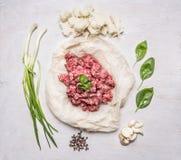 在一张纸的新鲜的绞细牛肉,用牛至、香葱和胡椒和大蒜木土气背景顶视图 库存图片